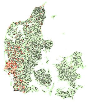kort over danske åer